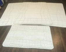 ROMANY WASHABLE TRAVELLERS MATS 4PC SETS NON SLIP REGULAR SIZE CREAM-IVORY ROSE